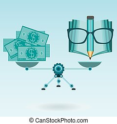 Dollar bills, an open book, glasses and pencil on the scales in balance. Investment in education, payment of tuition. Knowledge for money.