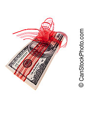 Dollar bills as money gift - U.S. dollars cash receipts for...