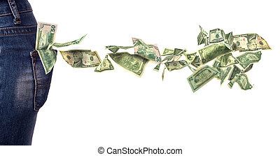 dollar bills falling out of pocket isolated on white