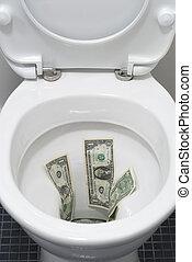 Dollar bills flushed down a toilet