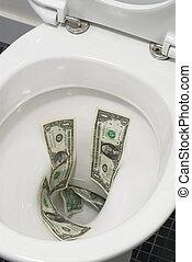 Dollar bills flushed down the toilet