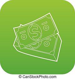 Dollar bills icon green vector
