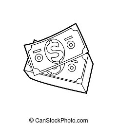 Dollar bills icon in outline style