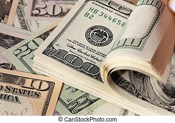 Dollar bills - Image for photo wealth. Many American dollar...