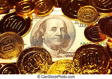 Dollar bills in Golden coins heap