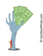 Dollar Bills in Zombie Hand Flat Vector
