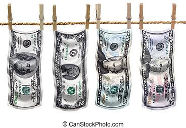 Dollar bills on clothesline