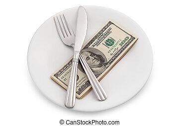 Dollar bills on plate