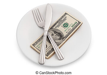 Dollar bills on plate