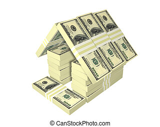 dollar bills pack money house isolated