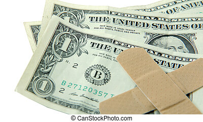 Dollar bills with band-aids = economic hardship