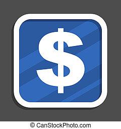 Dollar blue flat design square web icon