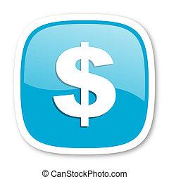 dollar blue glossy web icon