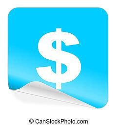 dollar blue sticker icon