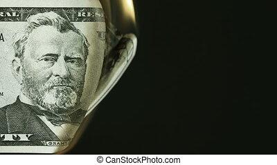 dollar, brûlé, billet banque, cinquante