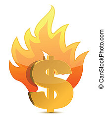 dollar, brûlé, illustration, signe