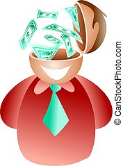 dollar brain - businessman with the ability to make money