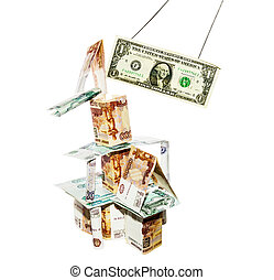 dollar breaks the house built from rubbles