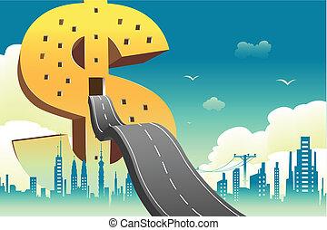 Dollar Building - illustration of road entering dollar shape...