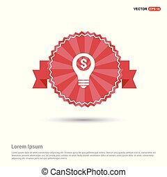 Dollar Bulb Icon - Red Ribbon banner