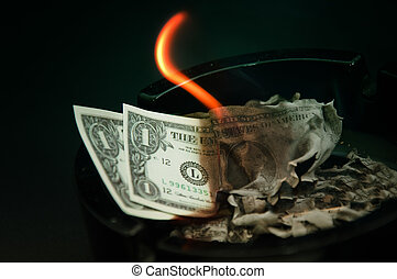 dollar, burning