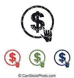 Dollar button grunge icon set