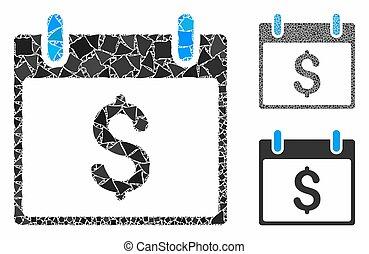Dollar calendar day Mosaic Icon of Rough Pieces