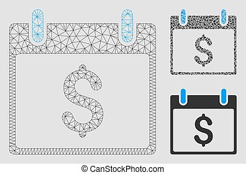Dollar Calendar Day Vector Mesh 2D Model and Triangle Mosaic Icon