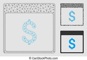 Dollar Calendar Page Vector Mesh Wire Frame Model and Triangle Mosaic Icon
