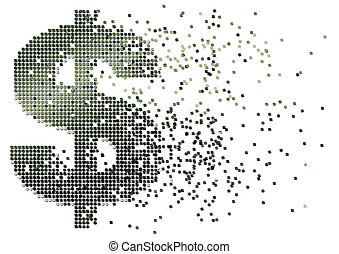 dollar cash flow - abstract illustration of cash flow with...