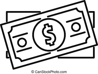 Dollar cash icon, outline style
