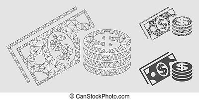 Dollar Cash Vector Mesh Wire Frame Model and Triangle Mosaic Icon