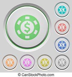 Dollar casino chip push buttons