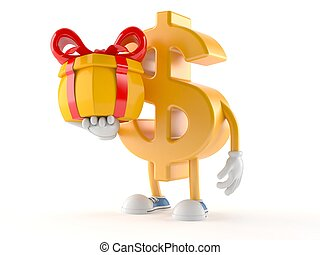 Dollar character holding gift