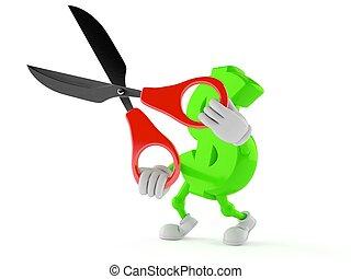 Dollar character holding scissors
