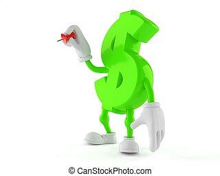 Dollar character holding thumbtack
