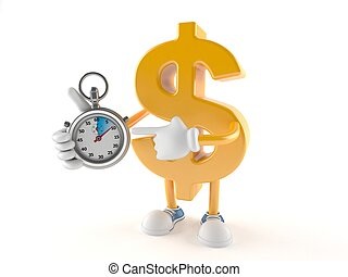 Dollar character with stopwatch