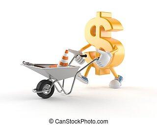 Dollar character with wheelbarrow