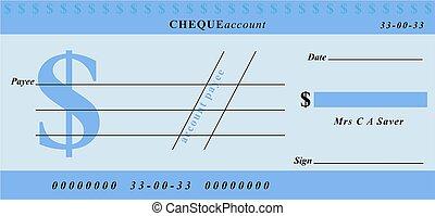 dollar cheque - generic blue cheque design in dollar...