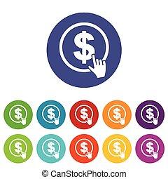 Dollar click flat icon