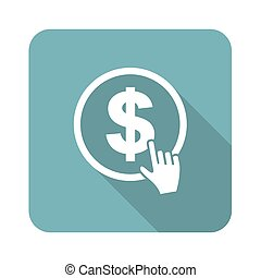 Dollar click icon, square