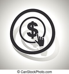 Dollar click sign sticker, curved