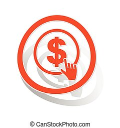 Dollar click sign sticker, orange