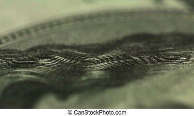 Dollar close up. Eyes of U.S. President - UltraHD video -...