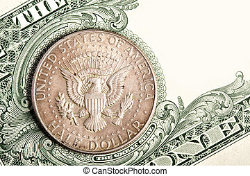 Dollar coin and banknote