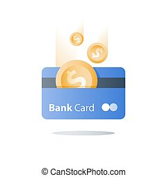 Credit card, payment method, bank services, easy loan, cash back program, saving money, financial solution, bank card, dollar coin, deposit and withdraw, transaction security, vector icon