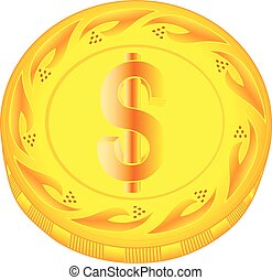 Dollar coin - gold dollar, metal dollar, small change,...