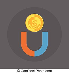 Dollar Coin With Magnet Icon Money Concept