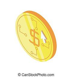 dollar coin with mouse cursor on white background