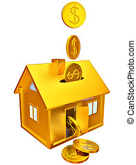 dollar coins falling down to the money box - dollar coins...